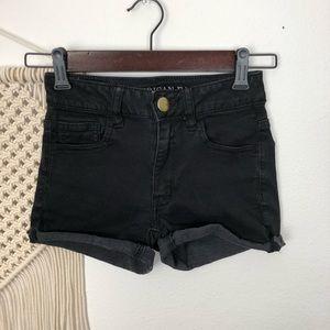 AEO Black Hi-Rise Shortie Jeans Shorts Size 00